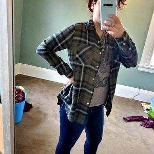 Army Green Boyfriend fit Flannel